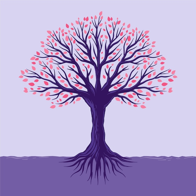 Colorful leaves hand drawn tree life Free Vector