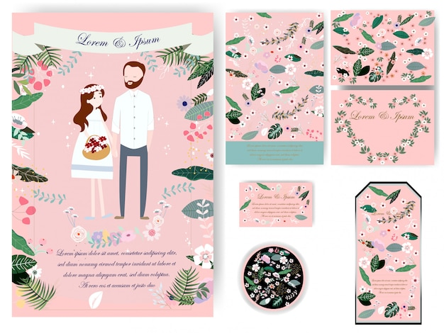 Colorful leaves wedding card and tag Premium Vector