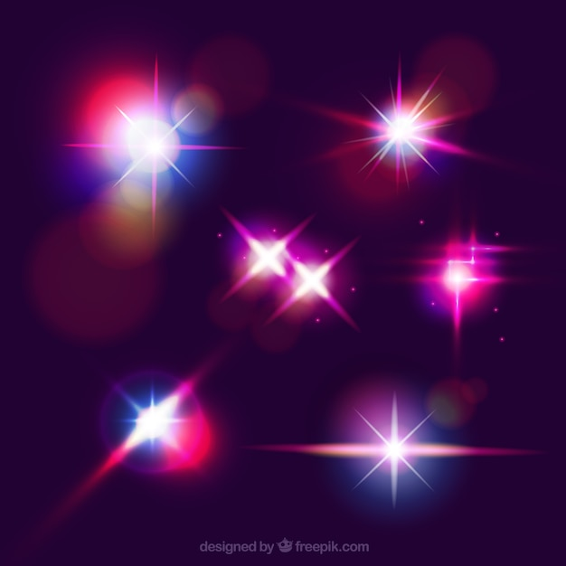 Colorful lens flare collection Free Vector