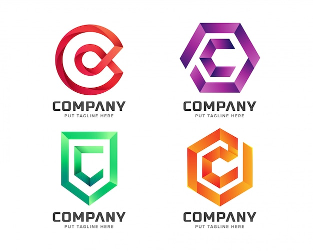 Colorful letter c initial logo collection Premium Vector