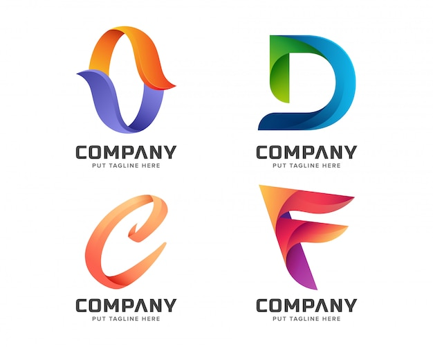 Colorful letter initial logo collection Premium Vector