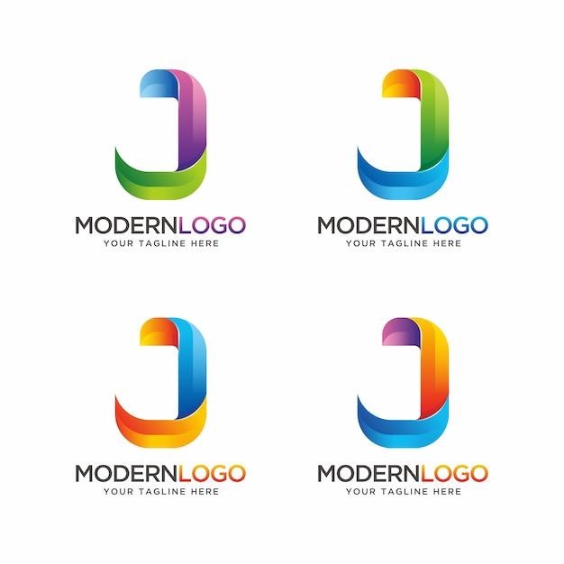 Colorful letter j logo design. Premium Vector