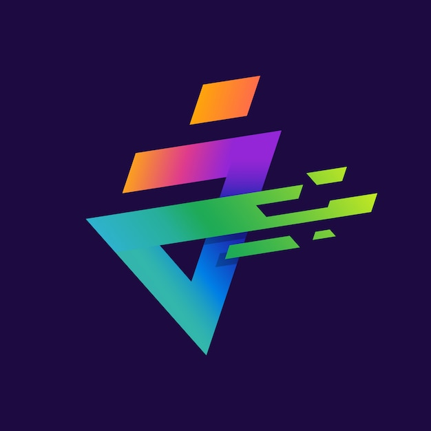 Colorful letter a or j logo with simple spark Premium Vector