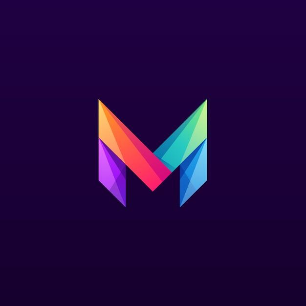 カラフルな文字mロゴデザインマーク Premiumベクター