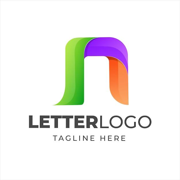 カラフルな文字nモダンなロゴデザイン Premiumベクター