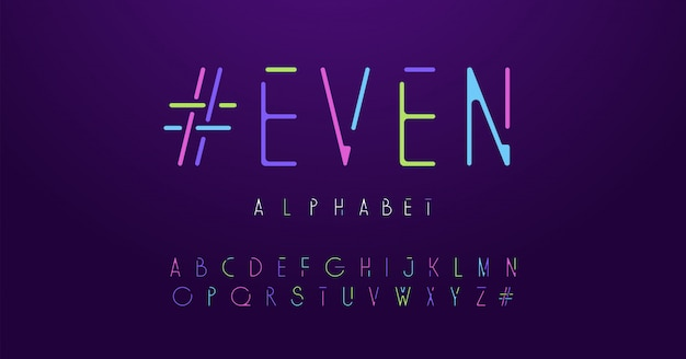 Colorful letters neon rounded font Premium Vector