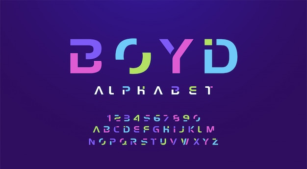 Colorful letters and numbers font. Premium Vector