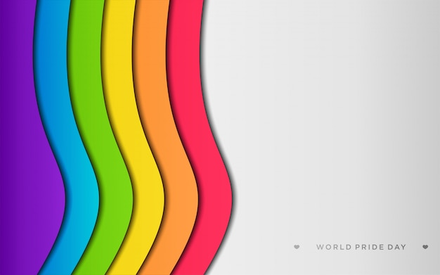 Colorful lgbt pride with copyspace in paper craft style Premium Vector