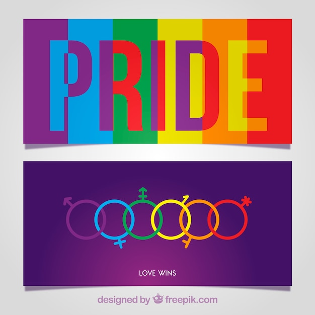 Colorful lgtb pride banners Free Vector