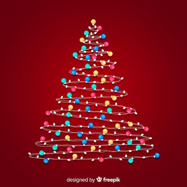 Colorful Christmas Tree Vector.Colorful Light Garland Christmas Tree Vector Free Download
