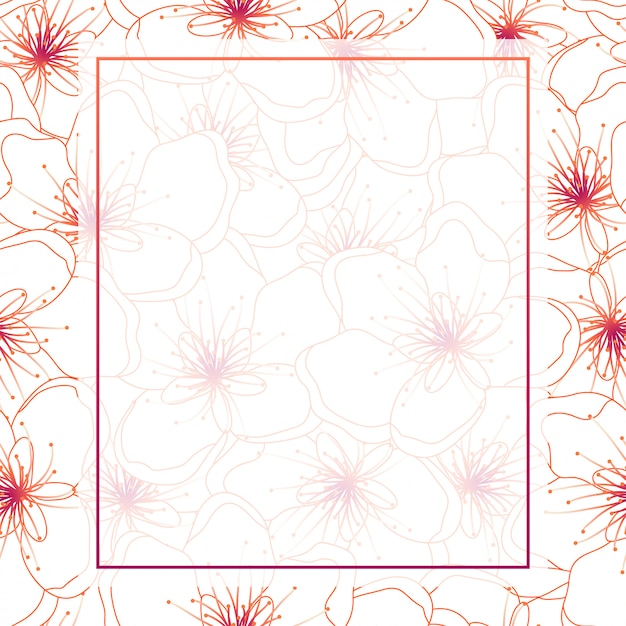 Colorful line peach cherry blossom frame background Premium Vector
