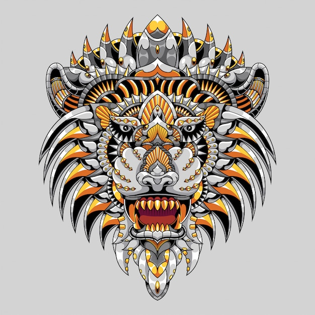 カラフルなライオンのイラストマンダラzentangle Premiumベクター