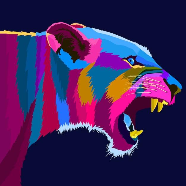 Colorful lion pop art style vector Premium Vector
