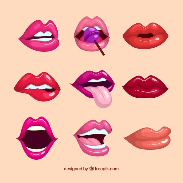 Colorful lips collection with flat design Free Vector