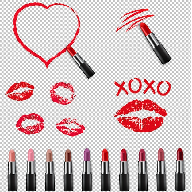 Colorful lipstick collection isolated transparent background Premium Vector