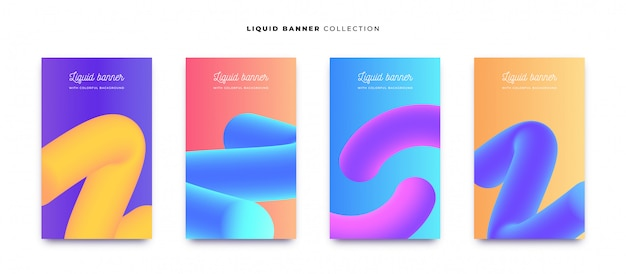 Colorful liquid banner collection with vibrant backgrounds Free Vector