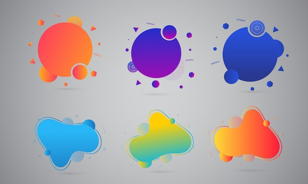 Colorful liquid or fluid art abstracts on gray background. Premium Vector