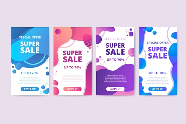 Colorful liquid sales banner collection Free Vector