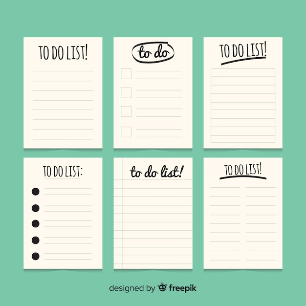 Colorful to do list collection with flat design Free Vector