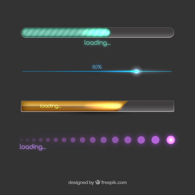 Colorful loading bars Free Vector