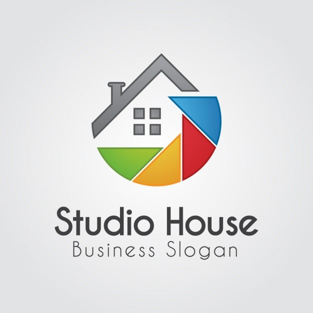 Colorful logo with abstract house Free Vector