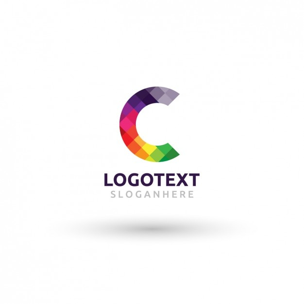 Colorful logo with checkered c Free Vector