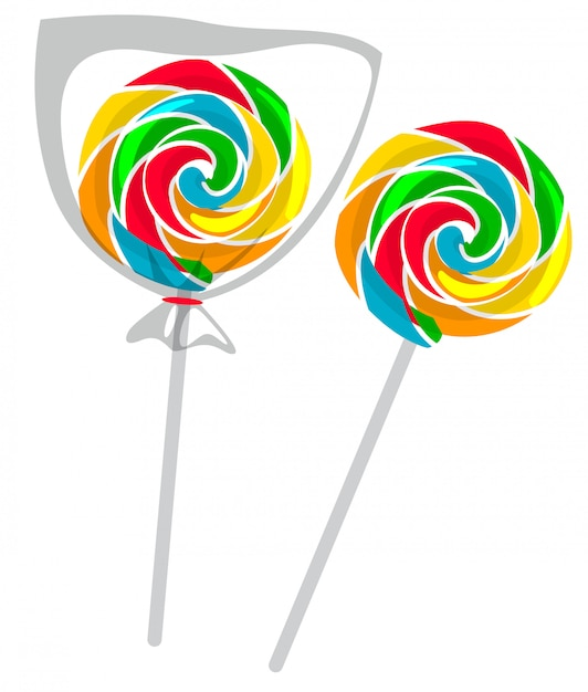 Colorful lollipop isolated Free Vector