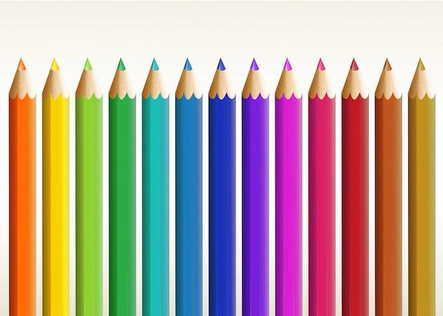 カラフルな長い鉛筆 無料ベクター