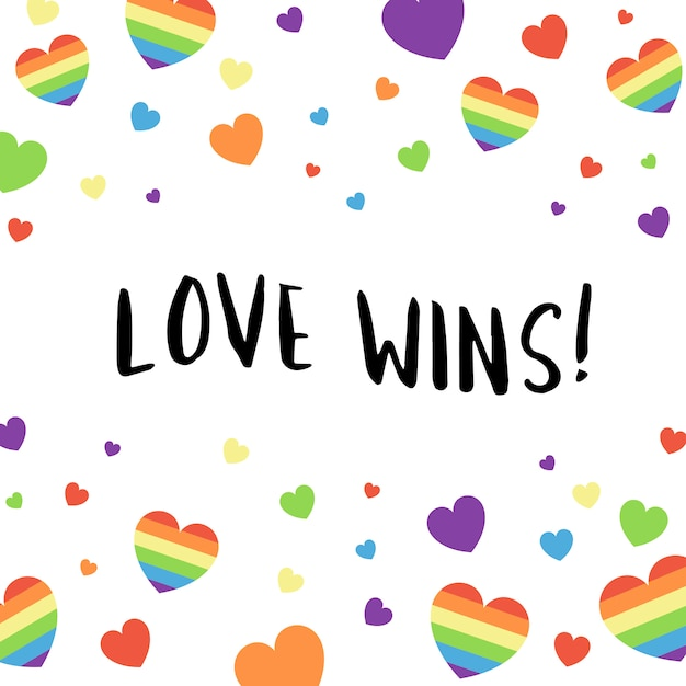 Colorful love wins typography background vector Free Vector