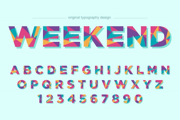 Colorful low poly typography font design Premium Vector