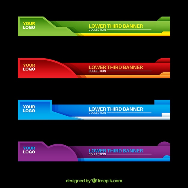 Colorful Lower Thirds Set Vector Free Download