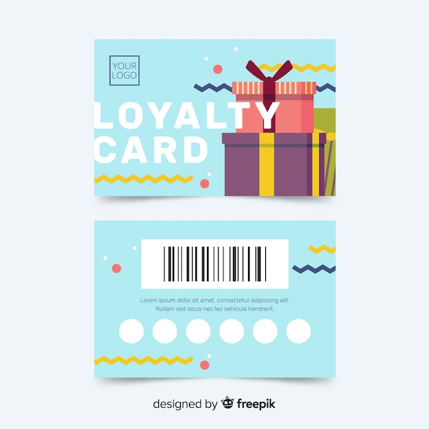 Colorful Loyalty Card Template With Abstract Design Vector Free - Free loyalty card template download