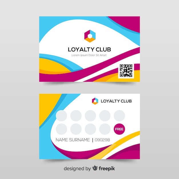 Colorful loyalty card template with abstract design Free Vector