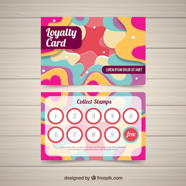 colorful loyalty card template with flat design vector. Black Bedroom Furniture Sets. Home Design Ideas