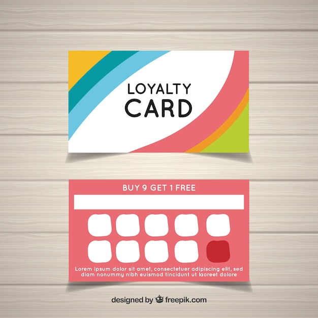 colorful loyalty card template vector free download