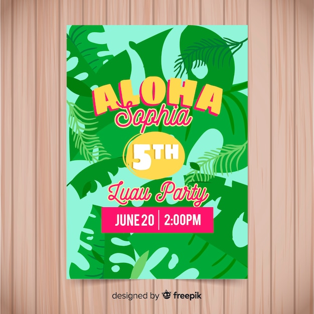 colorful luau party flyer template vector free download