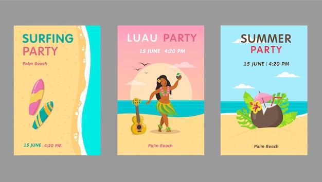 カラフルなルアウパーティの招待状デザインセット。テキスト付きの明るいハワイのリゾートイベントの招待状。ハワイの休暇と夏のコンセプト。リーフレット、バナーまたはチラシのテンプレート 無料ベクター