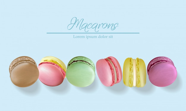 Colorful macaroons Premium Vector