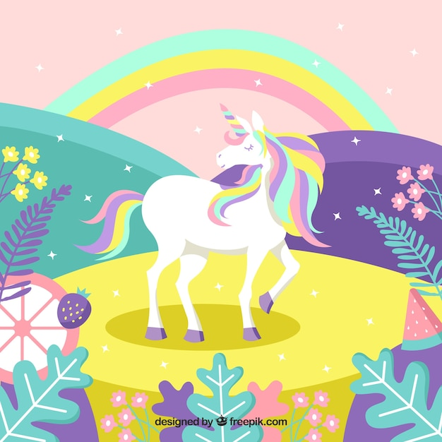 Colorful magic world background with unicorn Free Vector