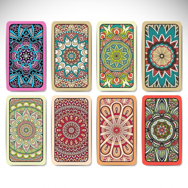 Colorful mandala card collection Free Vector