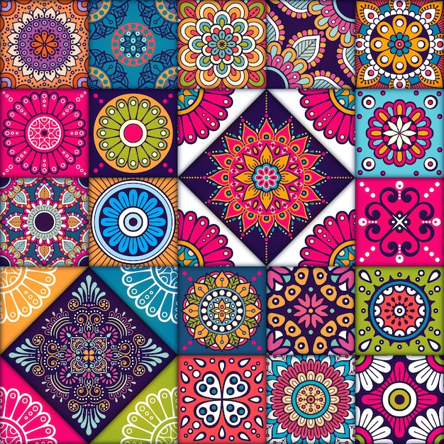Colorful mandala tiles pattern Vector | Free Download