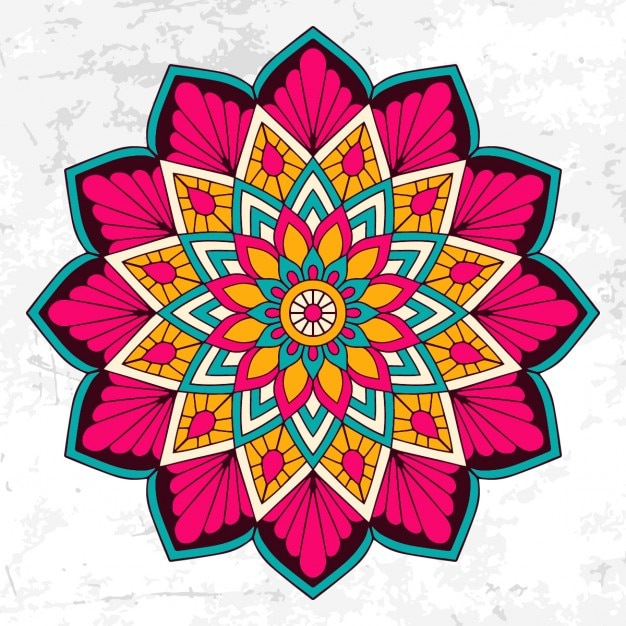 Colorful mandala with floral ornament Free Vector