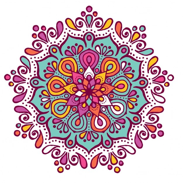 Colorful mandala with floral shapes Free Vector