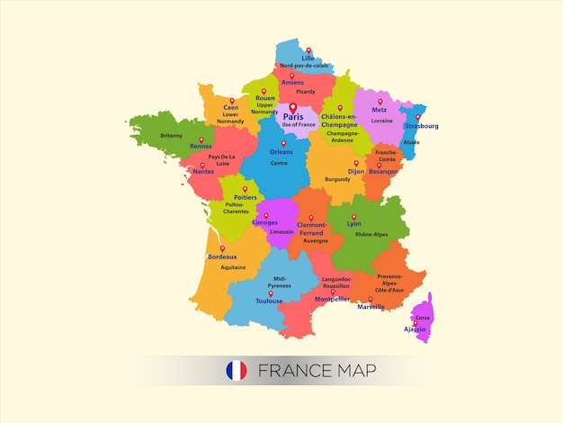 City Map Of France.Colorful Map Of France With Capital City Vector Premium Download