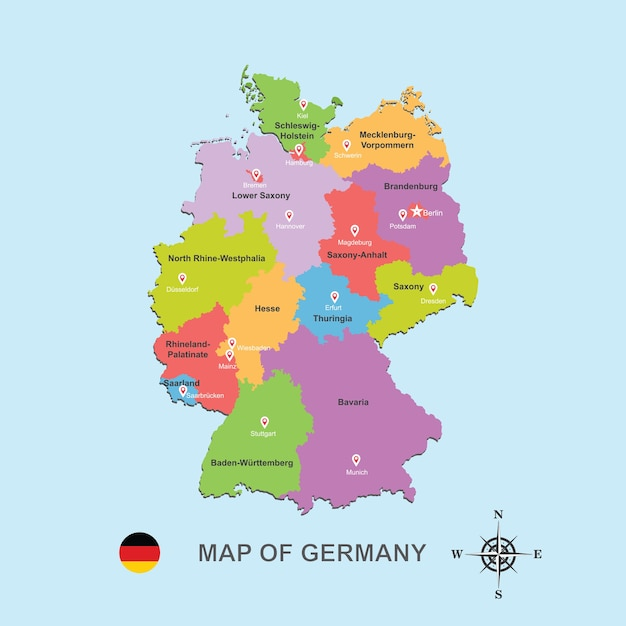 Capital Of Germany Map.Colorful Map Of Germany With Capital City On Blue Background Vector