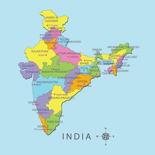 Colorful map of india with capital city on blue background. Vector on