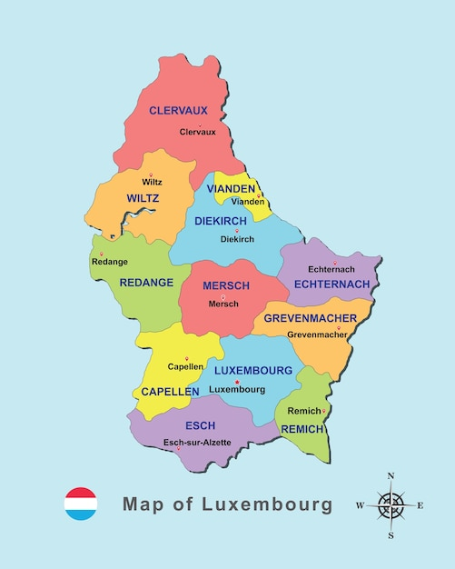 Colorful Map Of Luxembourg With Capital City On Blue Background - Luxembourg map vector