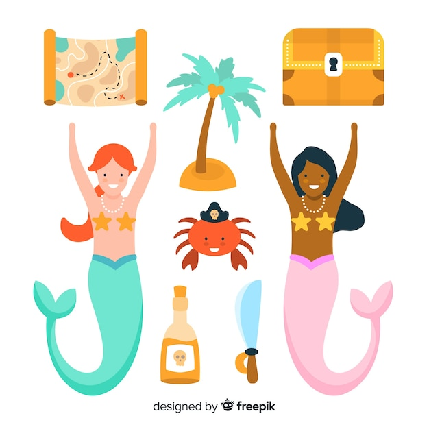 Colorful marine life character collection Free Vector