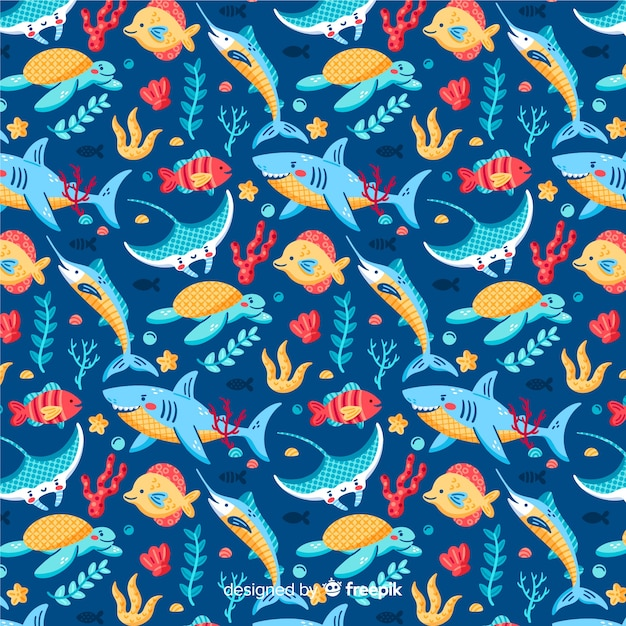 Colorful marine life pattern background Free Vector