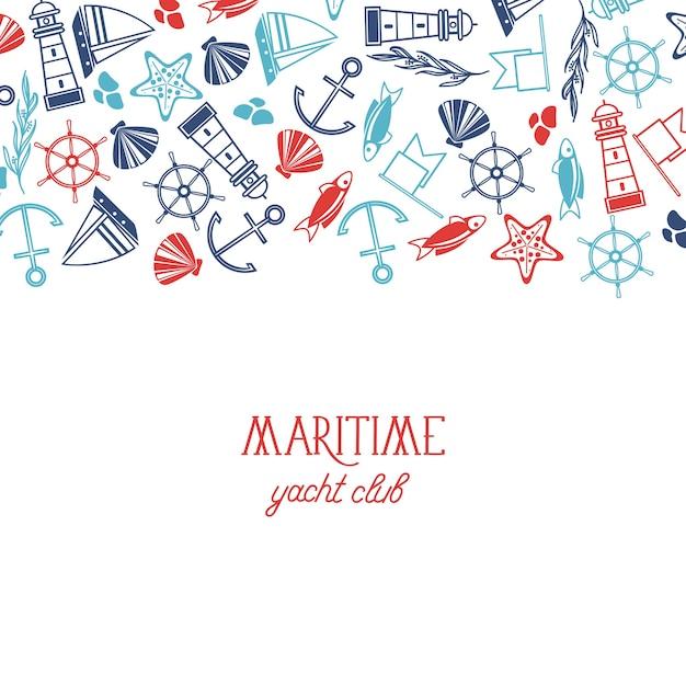 Poster di yacht club marittimo colorato con diversi numerosi simboli tra cui pesce, nave, modello marino e senza cuciture su carta bianca Vettore gratuito